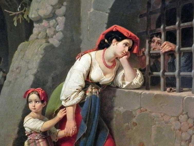 Theodor Leopold Weller, Besuch im Gefängnis - 1835 (Public domain)